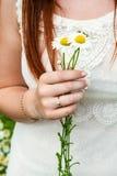 Букет стоцвета в руке маленькой девочки Стоковые Фото