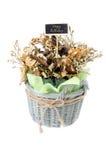 Букет сухого цветка с счастливым ярлыком дня рождения Стоковые Изображения