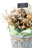 Букет сухого цветка с счастливым ярлыком дня рождения Стоковая Фотография