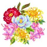 Букет с цветками Китая Яркие бутоны магнолии, пиона, рододендрона и хризантемы Стоковые Фотографии RF