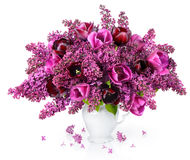 Букет тюльпанов и сирени Стоковая Фотография