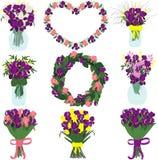 Букет фиолетовых и розовых радужек и состава тюльпанов и freesias радужек Стоковое Фото