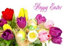 букет цветастая пасха цветет тюльпан Стоковые Изображения