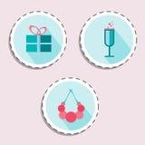 Букет цветка, шляпы, губной помады для комплекта значка женщины Красота и аксессуары Стоковые Фотографии RF