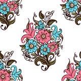 Букет цветков Безшовная картина букета декоративных цветков на белой предпосылке иллюстрация штока