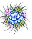 Букет цветков нарисованных вручную на белизне Стоковое Фото