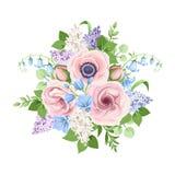 Букет цветков пинка, голубых и пурпурных r стоковая фотография