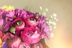 Букет цветков Предпосылка открытки романтичная Макрос Стоковое Фото