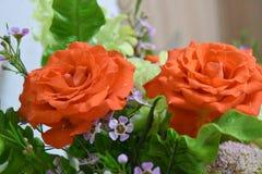 Букет цветков роз близкий вверх и желтые и оранжевые розы закрывают вверх стоковые фото