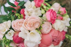 Букет цветков Букет ` s невесты руки groom невесты букета bridal Floristics кольца предпосылки яркие wedding белизна Стоковые Изображения RF