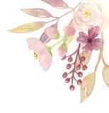 Букет ягод акварели угловой цветет розовые лист венка Стоковые Фотографии RF