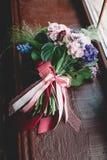 Букет Tenderless в зеленых и розовых и голубых цветах Стоковое фото RF
