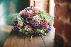 Букет Tenderless в зеленых и розовых и голубых цветах Стоковая Фотография