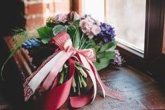 Букет Tenderless в зеленых и розовых и голубых цветах Стоковое Изображение