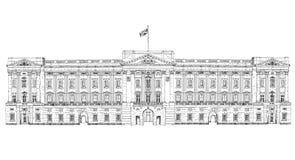 Букингемский дворец Лондон, собрание эскиза, строб Букингемского дворца иллюстрация вектора