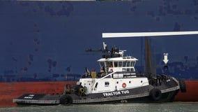 Буксир Z-FOUR помогая CGM LYRA грузового корабля CMA проводит маневр Стоковое фото RF