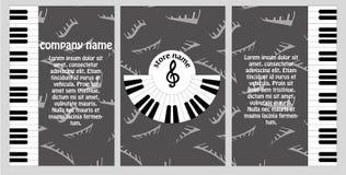 Буклет для музыкального магазина Дизайн рогульки в стиле музыки с представлением доски сзажимом для бумаги и моды Стоковые Изображения