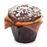 Булочка пирожного шоколада изолированная на белой предпосылке Стоковая Фотография