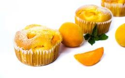 Булочки абрикоса с свежими фруктами на белизне Стоковая Фотография