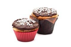 2 булочки пирожных шоколада изолированной на белой предпосылке Стоковая Фотография RF