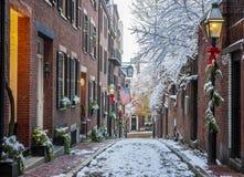 булыжник известный massachusetts boston жолудя большая часть улицы одной улицы стоковые изображения