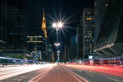 Бульвар на ноче - Сан-Паулу Paulista, Бразилия стоковая фотография