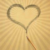бумага бежевого сердца старая Стоковое фото RF