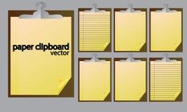 бумага бумажной доски сзажимом для бумаги белая желтая Стоковая Фотография