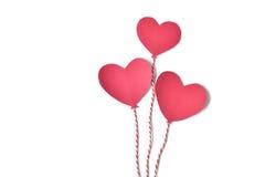 Бумага воздушного шара сердца отрезанная на белой предпосылке Стоковые Фото