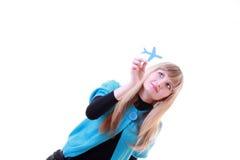 бумага девушки самолета Стоковое Изображение RF