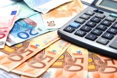 бумага евро чалькулятора Стоковая Фотография