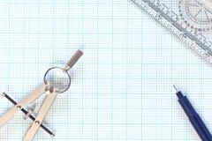 бумага жизни диаграммы инженерства компаса все еще Стоковая Фотография