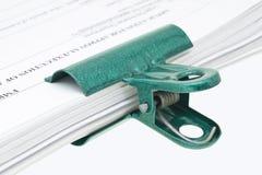 бумага зажима зеленая Стоковые Изображения RF
