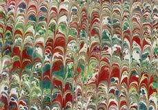 Бумага или ebru зеленого цвета мраморизованная как используется в старыми книгами Стоковые Изображения