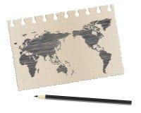 Бумага и карандаш Стоковая Фотография