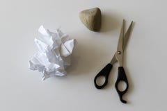 Бумага - камень - ножницы стоковая фотография rf