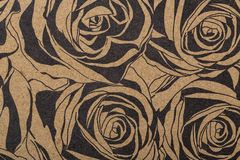 Бумага картины цветков для шарфа обруча подарка печати крышек заполнений картины обоев ткани поверхностного на коричневой бумаге  стоковое изображение
