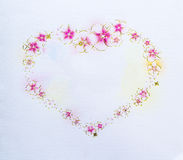 Бумага карточки с сердцем цветков Стоковое Изображение