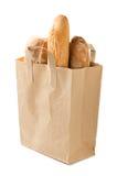 бумага мешка изолированная хлебом Стоковое Изображение