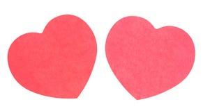 Бумага напоминания в форме изолированного сердца Стоковые Фото
