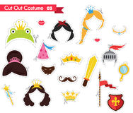 Бумага отрезала вне для детей с темой принца и принцессы можно использовать как упорки для theamed партии Стоковое Изображение