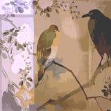 Бумага предпосылки Scrapbook винтажной флористической птицы богемская Стоковое Изображение