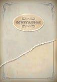 Бумага приглашения grunge год сбора винограда с рамкой и текстом Стоковые Фото