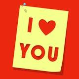 бумага примечания влюбленности вы Стоковая Фотография