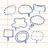Бумага пузыря речи вектора нарисованная рукой установленная Стоковые Фотографии RF