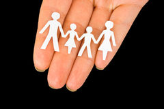 бумага руки семьи стоковое фото rf
