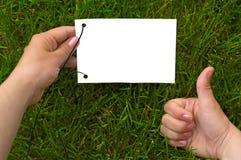 бумага рук травы Стоковое Изображение RF