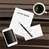 Бумага, ручка, умный телефон и кофе на темном коричневом цвете иллюстрация штока