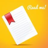 Бумага с закладкой на оранжевой предпосылке Стоковое Изображение