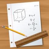 Бумага с карандашем и правителем иллюстрация вектора